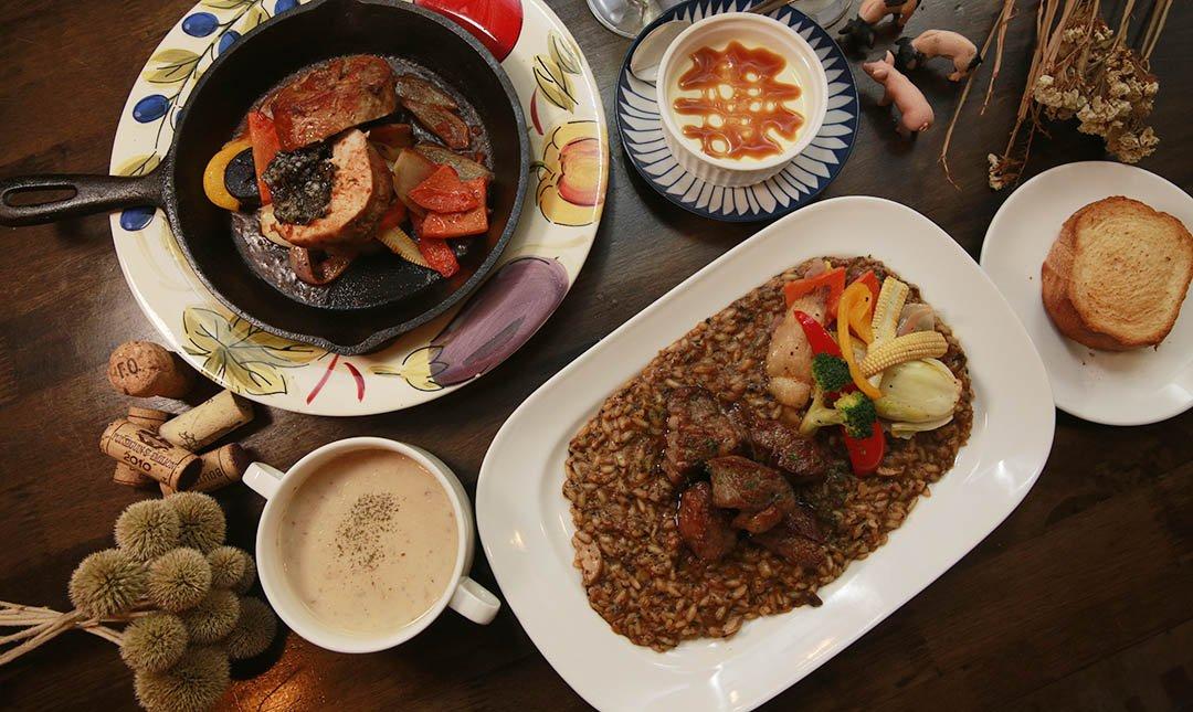 豬跳舞小餐館-雙主餐 + 附餐 + 甜點 + 紅白酒