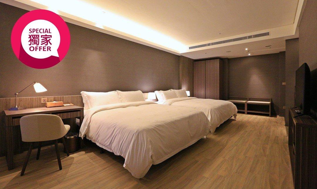 村却國際溫泉酒店 x 羅東五星酒店-家庭客房 x 雙浴池獨立小陽台