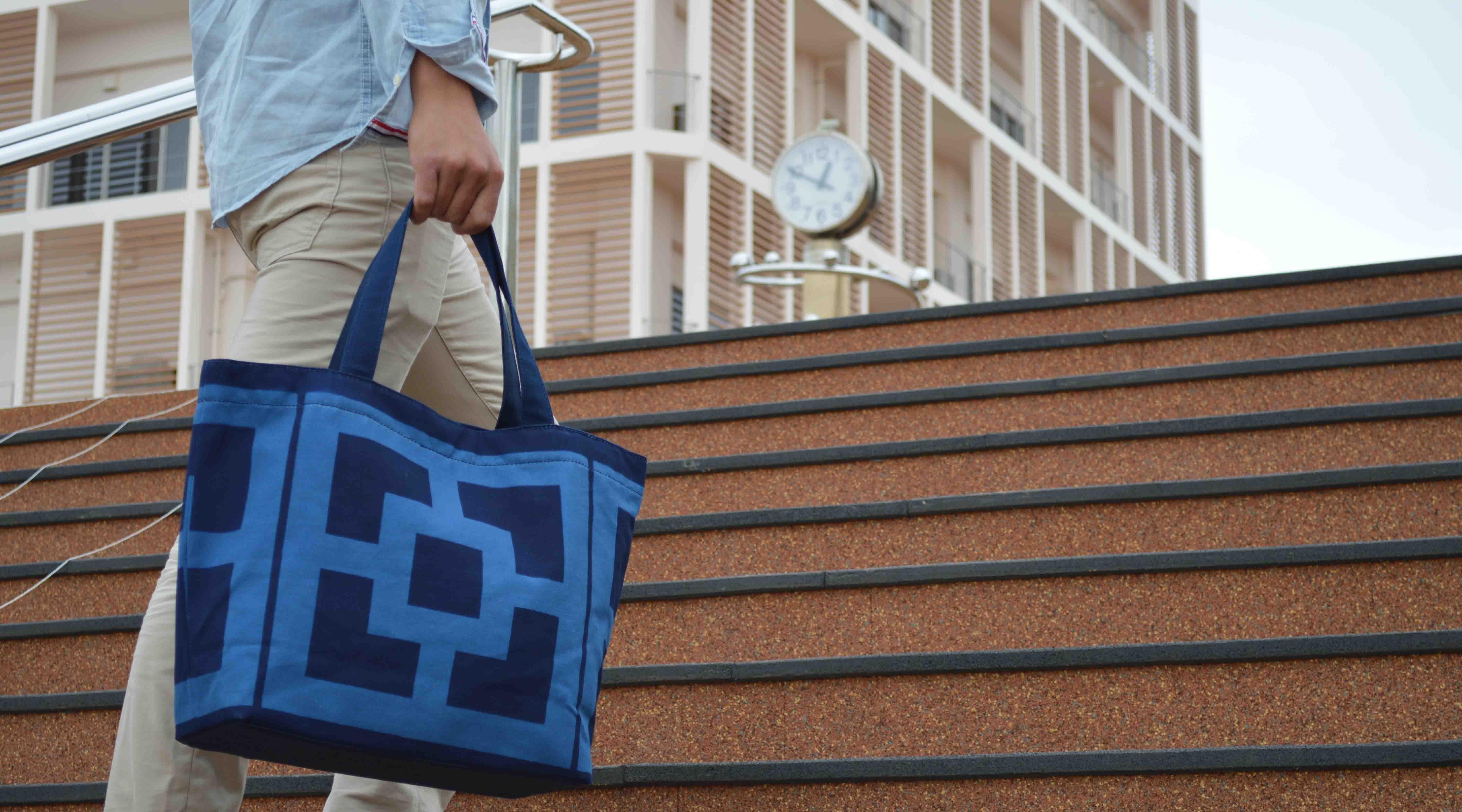 沖繩 Collection Yuimaru 沖繩本店-Aimun 琉球藍染托特包(大方藍)